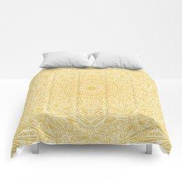 Most Detailed Mandala! Yellow Golden Color Intricate Detail Ethnic Mandalas Zentangle Maze Pattern Comforters