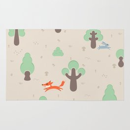Fox running in the forest Rug