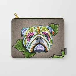 English Bulldog - Day of the Dead Sugar Skull Dog Carry-All Pouch