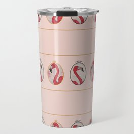 the royal pink flamingo king and queen stripe pattern in vintage pink Travel Mug