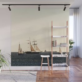 Sailboats in a windy day Wall Mural