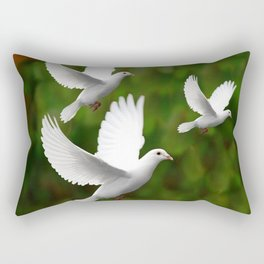 THREE CONTEMPORARY WHITE  DOVES IN GREEN Rectangular Pillow