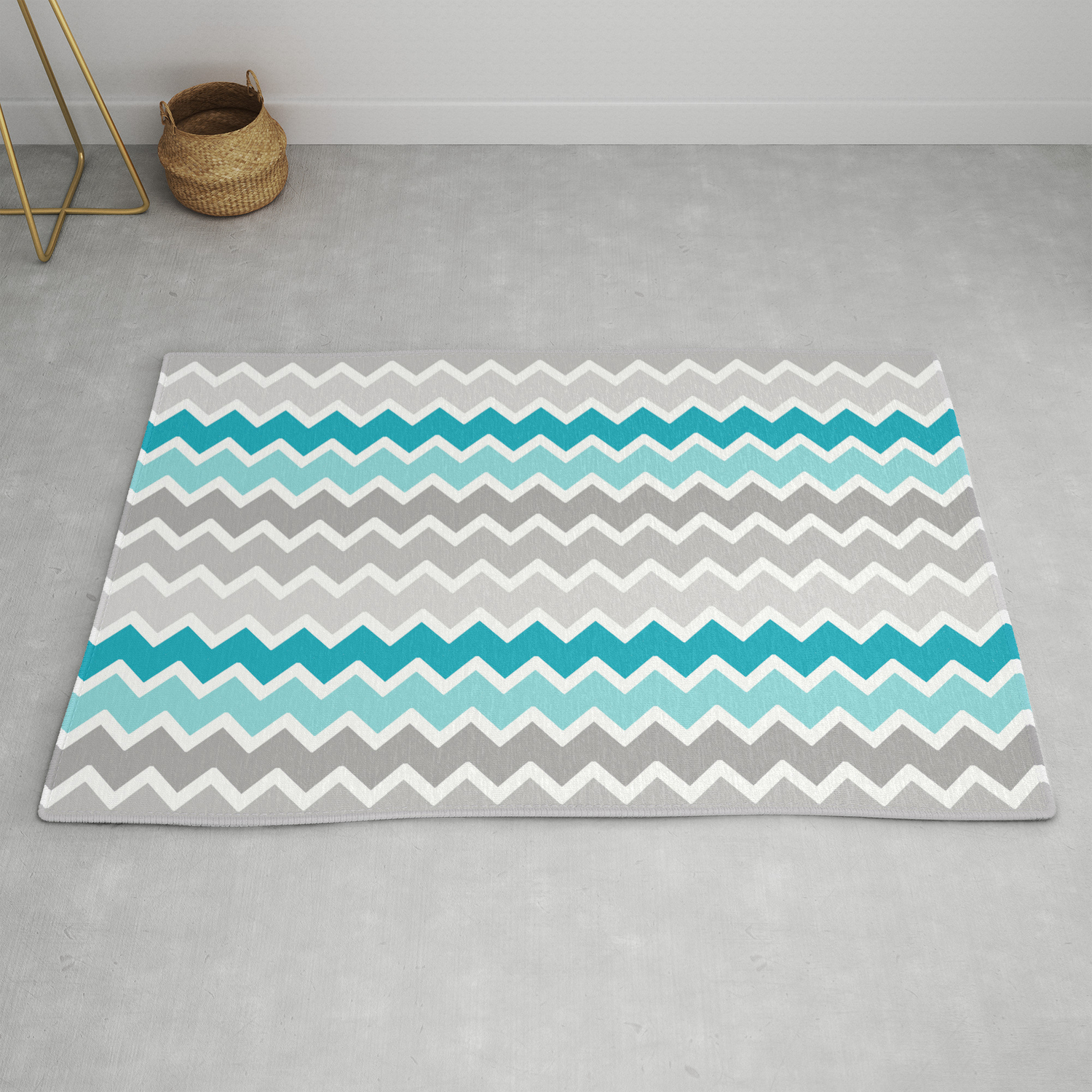 Turquoise Teal Blue Gray Chevron Rug by