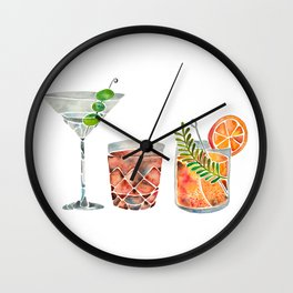 Classic Cocktails  – 1960s Watercolor Lineup Wall Clock