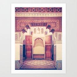 Moroccan Ornate Woodwork Doorway Fine Art Print Art Print