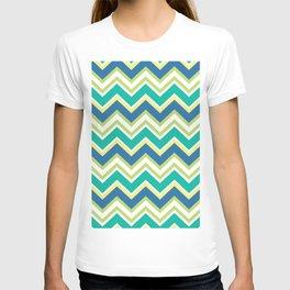 Pastel green yellow blue modern zigzag chevron pattern T-shirt