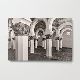 The Historic Arches in the Synagogue of Santa María la Blanca, Toledo Spain (3) Metal Print