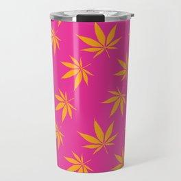 Marijuana leaves print - pink/orange Travel Mug