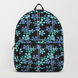 Black blue green abstract pattern Backpack