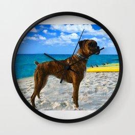 BOXER DOG SURFER BEACH BUM AND FRIEND Wall Clock
