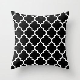 White Moroccan Quatrefoil On Darkest Black Throw Pillow