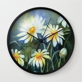 Daisies Watercolor Abstract Flowers Wall Clock