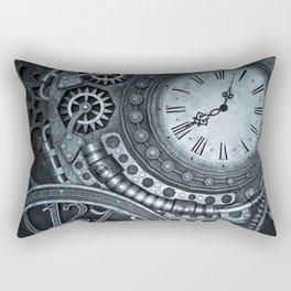Silver Steampunk Clockwork Rectangular Pillow