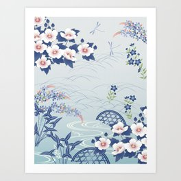 Elegant Light Blue Japanese Flower Garden Art Print