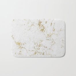 White and gold faux marble Bath Mat