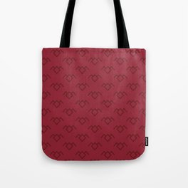 Twin Peaks Owl Petroglyph in Curtain Red Tote Bag