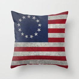 USA Betsy Ross flag - Vintage Retro Style Throw Pillow