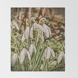 Snowdrops Throw Blanket