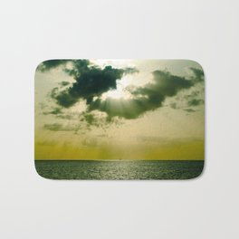 Green Sepia Monochromatic Ocean Clouds Photo Sun Shining Through Clouds Bath Mat