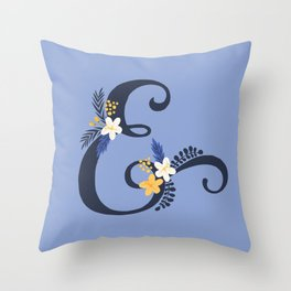 Purple ampersand floral throw pillow Throw Pillow