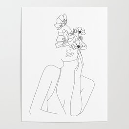Minimal Line Art Woman with Flowers Poster