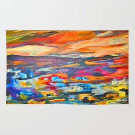My Village | Colorful Small Mountainy Village Rug