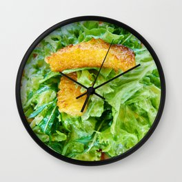 Salad arugula leaves with cheese and orange slices Wall Clock