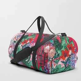 Ruby Red Floral Jungle Duffle Bag