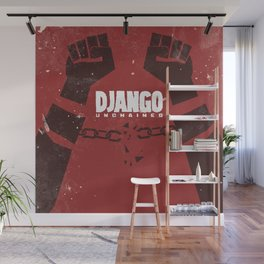 Django Unchained, Quentin Tarantino, minimalist movie poster, Leonardo DiCaprio, spaghetti western Wall Mural