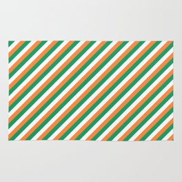Irish Tricolour Candy Cane Stripes Green Orange and White Irish Flag Rug