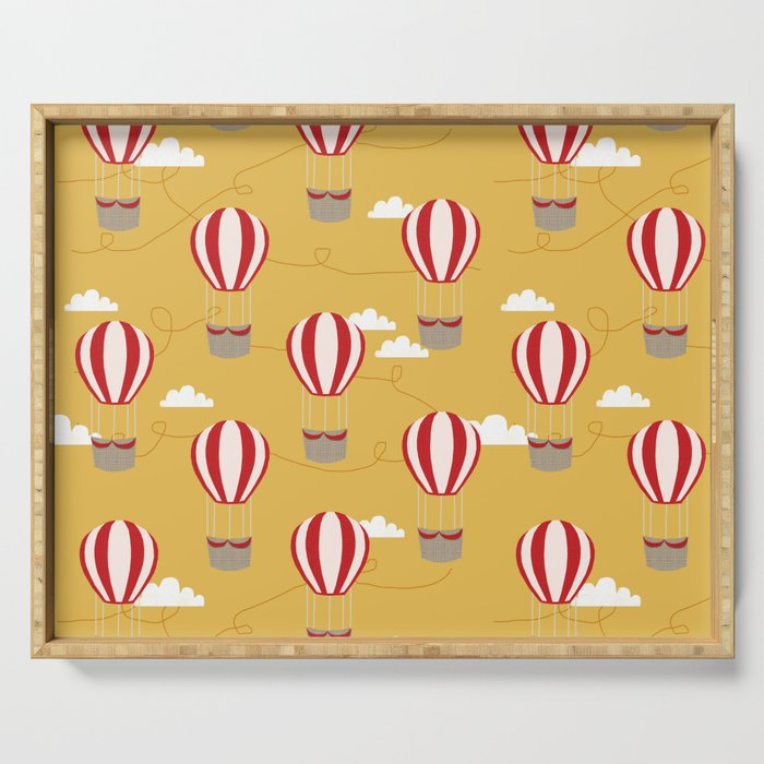 Hot air balloon pattern cute decor for boys or girls room Serving Tray