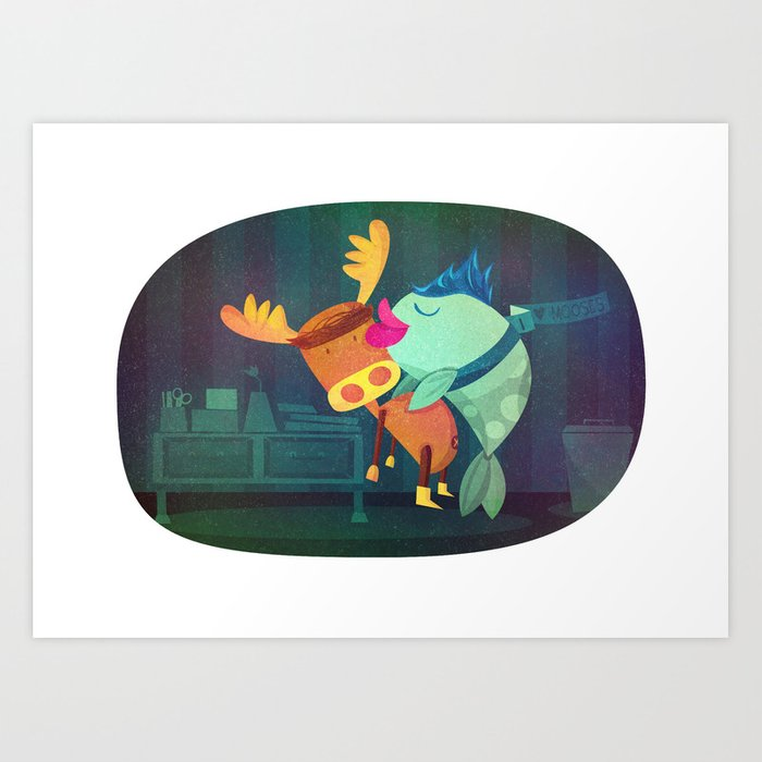 Fish & Moose Art Print
