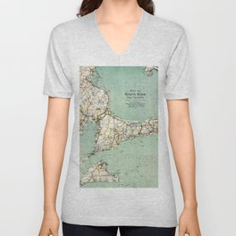 Cap Cod and Vicinity Map Unisex V-Neck