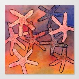 Colorful Sea Stars Mixed Media Art Canvas Print