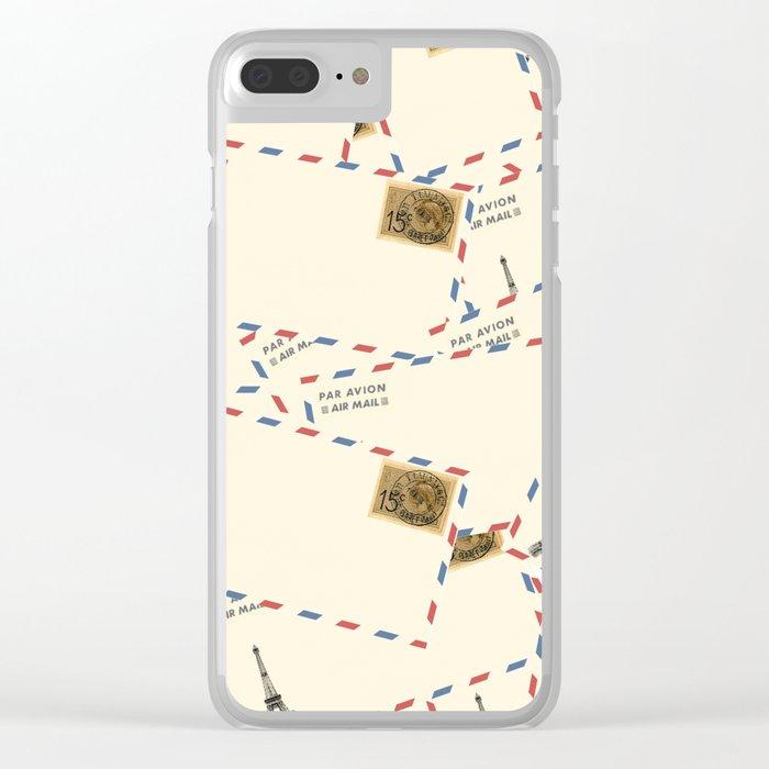 Paris Envelopes Clear iPhone Case