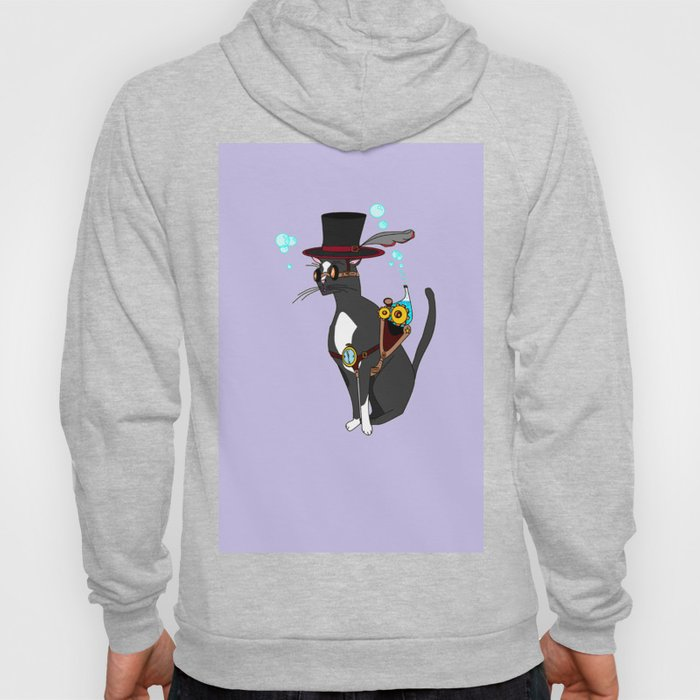 A Steampunk Cat with Lavender Background Hoody
