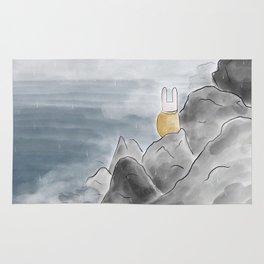 Bunny on the rocks Rug