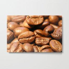 Roasted coffee beans macro Metal Print