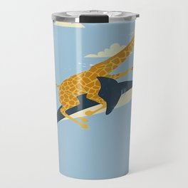 Giraffe riding shark Travel Mug