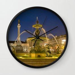 Rossio Square, Lisbon, Portugal, a baroque fountain Wall Clock