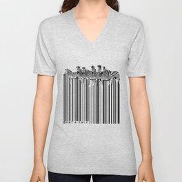 Zebra Barcode Unisex V-Neck