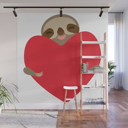 Valentines day card. Funny sloth with a red heart Wall Mural