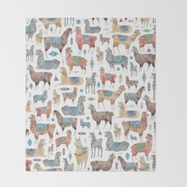 Llamas and Alpacas Throw Blanket