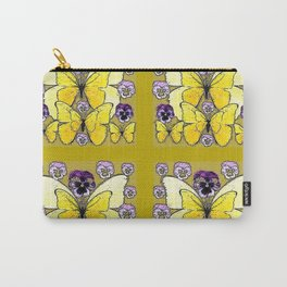 INK DRAWING PURPLE PANSY FLOWERS & YELLOW BUTTERFLIES Carry-All Pouch
