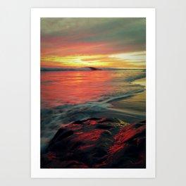 Sunset at UCSB Beach Art Print