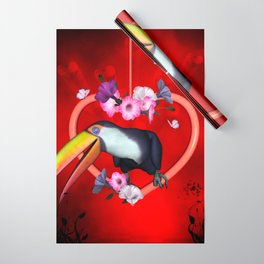 Funny toucan on a heart with flowers Wrapping Paper