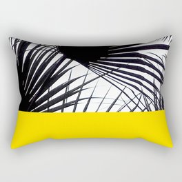 Black and White Tropical Palm Leaves on Sunny Yellow Rectangular Pillow