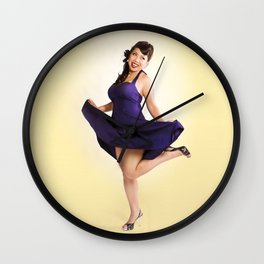 """""""Flirt Skirt"""" - The Playful Pinup - Cheesecake Pinup Smile in Purple Dress by Maxwell H. Johnson Wall Clock"""