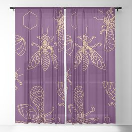 Crystal Bees - lineart Sheer Curtain