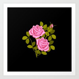 Painted Pink Roses Art Print